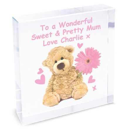 Personalised Teddy Flower Large Crystal Token